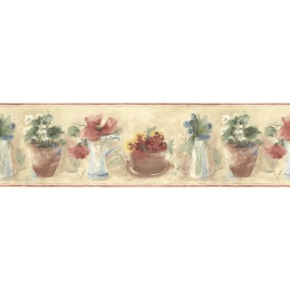 9 in x 15 ft Prepasted Wallpaper Borders - Floral Wall Paper Border B72854