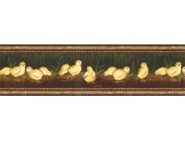 Prepasted Wallpaper Borders - Eight Chicks Wall Paper Border VIN7300B