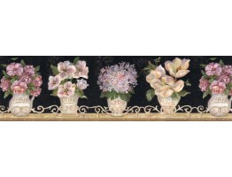 6 7/8 in x 15 ft Prepasted Wallpaper Borders - Floral Wall Paper Border VIN7306B