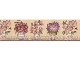 6 7/8 in x 15 ft Prepasted Wallpaper Borders - Floral Wall Paper Border VIN7307B
