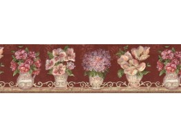 6 7/8 in x 15 ft Prepasted Wallpaper Borders - Floral Wall Paper Border VIN7308B