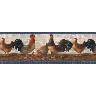 9 in x 15 ft Prepasted Wallpaper Borders - Layered Rooster Wall Paper Border VIN7323B