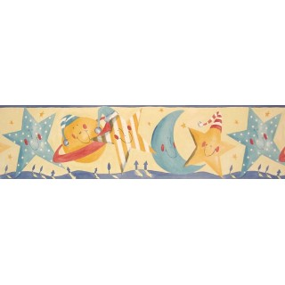 7 in x 15 ft Prepasted Wallpaper Borders - Sun Moon and Stars Wall Paper Border B73515