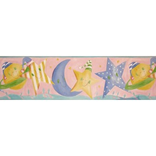 7 in x 15 ft Prepasted Wallpaper Borders - Sun Moon and Stars Wall Paper Border B73517