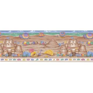 10 1/2 in x 15 ft Prepasted Wallpaper Borders - Beach Wall Paper Border LA73582B