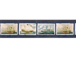 6 7/8 in x 15 ft Prepasted Wallpaper Borders - Ships Wall Paper Border FS73756
