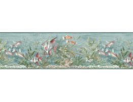 8 1/2 in x 15 ft Prepasted Wallpaper Borders - Fishes Wall Paper Border B74054