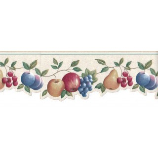 4 5/8 in x 15 ft Prepasted Wallpaper Borders - Fruits Wall Paper Border GH74101B