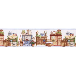7 in x 15 ft Prepasted Wallpaper Borders - Kitchen Wall Paper Border SK74392