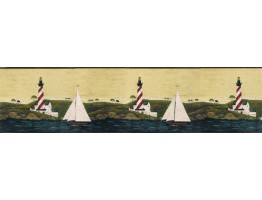 6 7/8 in x 15 ft Prepasted Wallpaper Borders - Light House Wall Paper Border WK74754