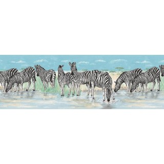 9 in x 15 ft Prepasted Wallpaper Borders - Animals Wall Paper Border B74873