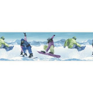 9 in x 15 ft Prepasted Wallpaper Borders - Skate Wall Paper Border B74880