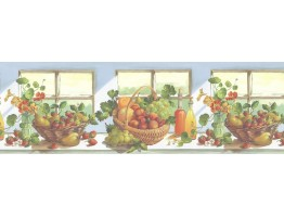 10 1/4 in x 15 ft Prepasted Wallpaper Borders - Fruits Wall Paper Border KT74962