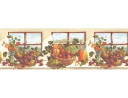 10 1/4 in x 15 ft Prepasted Wallpaper Borders - Fruits Wall Paper Border KT74963