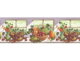 10 1/4 in x 15 ft Prepasted Wallpaper Borders - Fruits Wall Paper Border KT74964