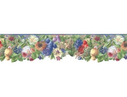 6 7/8 in x 15 ft Prepasted Wallpaper Borders - Floral Wall Paper Border B74977