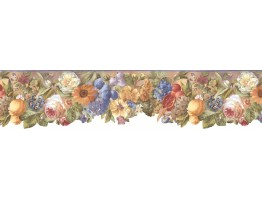 Prepasted Wallpaper Borders - Floral Wall Paper Border BB74979
