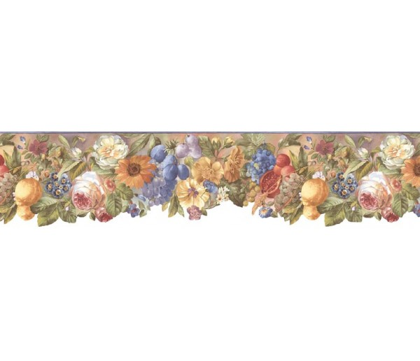 Prepasted Wallpaper Borders - Floral Wall Paper Border BB74979
