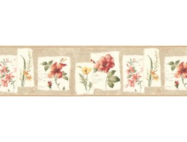 8 1/2 in x 15 ft Prepasted Wallpaper Borders - Floral Wall Paper Border B74983