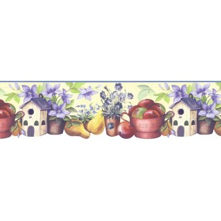 8 1/2 in x 15 ft Prepasted Wallpaper Borders - Kitchen Wall Paper Border B74987