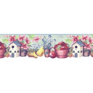 8 1/2 in x 15 ft Prepasted Wallpaper Borders - Kitchen Wall Paper Border B74988