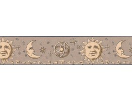 Prepasted Wallpaper Borders - Sun, Moon and Stars Wall Paper Border TM75056