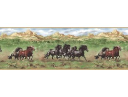 10 1/2 in x 15 ft Prepasted Wallpaper Borders - Horses Wall Paper Border TM75077