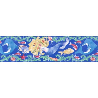 7 in x 15 ft Prepasted Wallpaper Borders - Fishes Wall Paper Border IG75182B