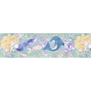 7 in x 15 ft Prepasted Wallpaper Borders - Fishes Wall Paper Border IG75183B