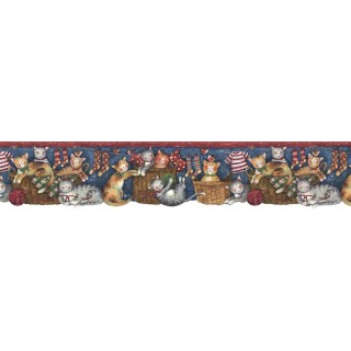 5 5/8 in x 15 ft Prepasted Wallpaper Borders - Cats Wall Paper Border FP75407DC
