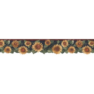 4 7/8 in x 15 ft Prepasted Wallpaper Borders - Sunflowers Wall Paper Border B75417