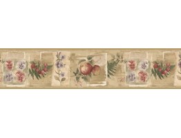 Prepasted Wallpaper Borders - Fruits and Flowers Wall Paper Border KB75501
