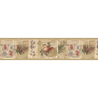7 in x 15 ft Prepasted Wallpaper Borders - Fruits and Flowers Wall Paper Border KB75501