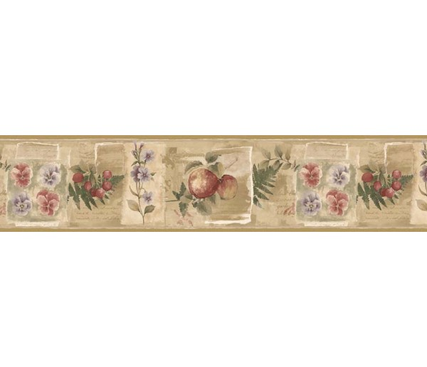 Clearance: Fruits and Flowers Wallpaper Border KB75501