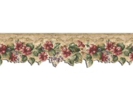 8 1/2 in x 15 ft Prepasted Wallpaper Borders - Floral Wall Paper Border KB75528DC