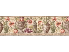 Prepasted Wallpaper Borders - Fruits and Flowers Wall Paper Border KB75530