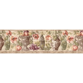 8 7/8 in x 15 ft Prepasted Wallpaper Borders - Fruits and Flowers Wall Paper Border KB75530