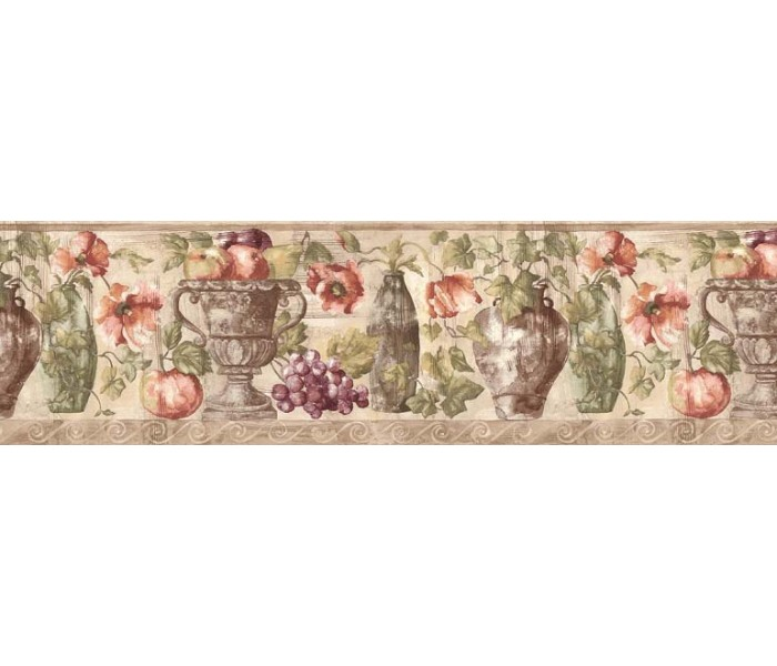 Clearance: Fruits and Flowers Wallpaper Border KB75530