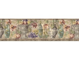 Prepasted Wallpaper Borders - Fruits and Flowers Wall Paper Border KB75531