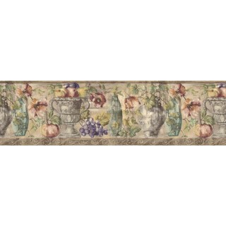 8 7/8 in x 15 ft Prepasted Wallpaper Borders - Fruits and Flowers Wall Paper Border KB75531