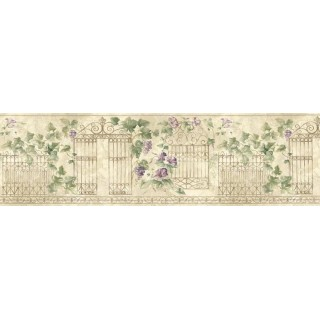 9 in x 15 ft Prepasted Wallpaper Borders - Floral Wall Paper Border HB75720