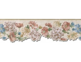 6 1/2 in x 15 ft Prepasted Wallpaper Borders - Floral Wall Paper Border b75750