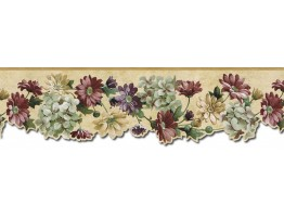 6 1/2 in x 15 ft Prepasted Wallpaper Borders - Floral Wall Paper Border b75751