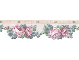 Prepasted Wallpaper Borders - Floral Wall Paper Border b75754