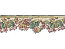 Prepasted Wallpaper Borders - Fruits and Flowers Wall Paper Border KA75856DC