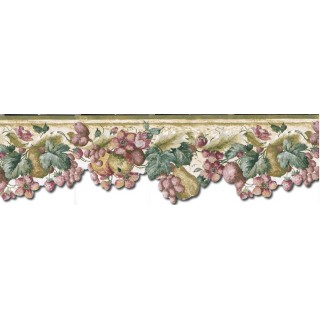 7 3/4 in x 15 ft Prepasted Wallpaper Borders - Fruits and Flowers Wall Paper Border KA75856DC