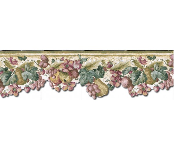 Clearance: Fruits and Flowers Wallpaper Border KA75856DC