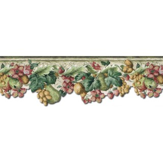 7 3/4 in x 15 ft Prepasted Wallpaper Borders - Fruits and Flowers Wall Paper Border KA75857DC