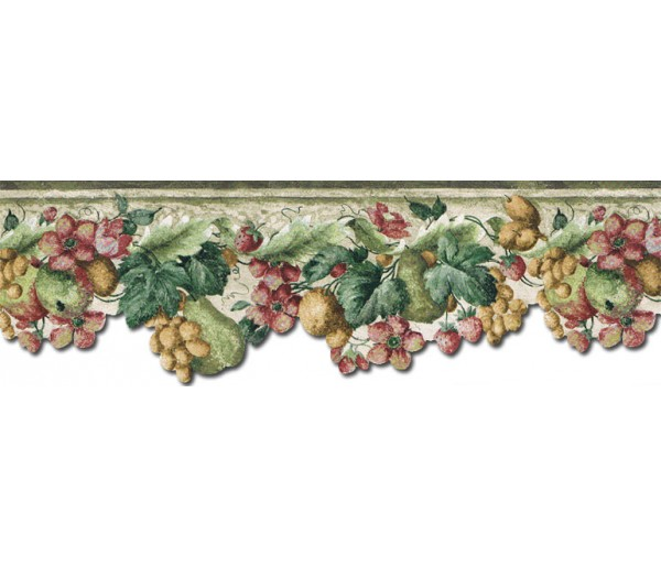 Prepasted Wallpaper Borders - Fruits and Flowers Wall Paper Border KA75857DC