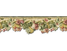 Prepasted Wallpaper Borders - Fruits and Flowers Wall Paper Border KA75858DC